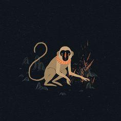 Willian Santiago, monkey, plants, black, illustration, animal