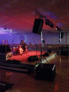 Everything all set for Jared Blake's concert on this makeshift stage which spans several lanes at this Western Wisconsin bowling alley. Stage Design, Bowling, Four Square, Wisconsin, Technology, Concert, Set Design, Tecnologia, Tech