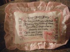 Tooth Fairy Pillow - Cross-Stitched