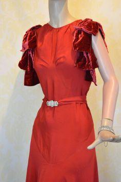 Vintage 30s Red Deco Dress XS S Rayon Velvet Wedding Gown Rhinestone Buckle NRA