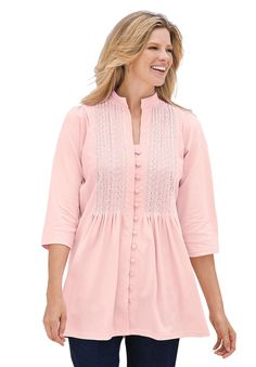Tunic top in knit is pleated, pintucked, embroidered | Plus Size Tall Tops | Woman Within
