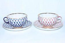 RUSSIAN Imperial Lomonosov Porcelain 2 Tea Cup and Saucer Cobalt Net Blues Gold