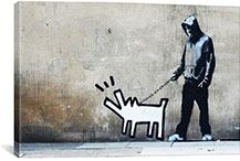 Banksy Street Art 27 in. Choose Your Weapon Keith Haring Dog Stenciled image of a man walking a Keith Haring dog Giclée reproduction of original street art printed on canvas Original art was located in London Banksy Canvas Prints, Banksy Artwork, Canvas Artwork, K Haring, Keith Haring, Dog Paintings, Painting Prints, Wall Art Prints, Large Wall Art
