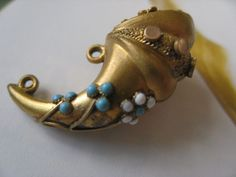 Antique Horn Of Plenty Enameled Fob, Victorian era, gold fill..