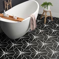 tiles Patterns EliteTile Poseidon Hex x Porcelain Mosaic Tile Vinyl Flooring, Kitchen Flooring, Kitchen Backsplash, Black Tile Flooring, Entryway Flooring, Flooring Sale, Laminate Flooring, Bathroom Floor Tiles, Wall Tiles