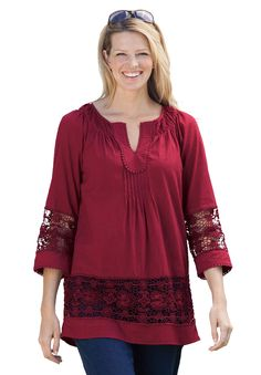 Plus Size Top, peasant style with crochet details | Plus Size Shirts & Blouses | Woman Within