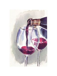 Red Wine Glass Pour, Watercolor Art Print