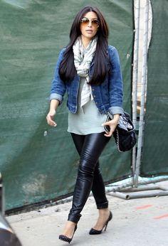 i'd rock: pleather jeggings (f21).  long tank (?).  jean jacket (costco).  any scarf.