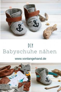 DIY: Sew baby shoes with anchors - with free appliqué template- DIY: Babyschuhe mit Anker nähen – mit gratis Applivorlage Baby shoes, leather slippers and even small slippers with … - Baby Shoes Pattern, Shoe Pattern, Pattern Sewing, Baby Sewing, Free Sewing, Sew Baby, Floral Patches, Applique Templates, Leather Slippers