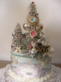 Vintage Modern Christmas Forest Box Bunny Owl Mouse Choir Boys Bottle Brush Tree | eBay