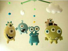 "Baby crib mobile, Monster mobile, Alien mobile, felt mobile, nursery mobile ""Monster Friends-Aqua"" by Feltnjoy on Etsy Baby Crib Mobile, Baby Cribs, Monster Kindergarten, Monster Nursery, Felt Crafts, Diy Crafts, Wooden Hangers, Cute Monsters, Craft Ideas"