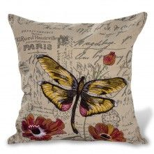 "Printemps Cushion (2 Flower) 18x18"" Beige"