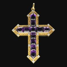 Hancocks of London, purveyors of the finest vintage and contemporary jewellery in the heart of London, since Cross Jewelry, Jewelry Tree, Cross Necklaces, Purple Cross, Gold Cross, Purple Jewelry, Amethyst Jewelry, Sign Of The Cross, Jewelry Christmas Tree