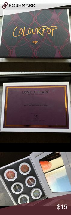 ColourPop Love A Flare Eyeshadow Kit Comes with all six Eyeshadow's, never ever used, only swatched. Selling because I have way to much makeup I'll never use. Colourpop Makeup Eyeshadow