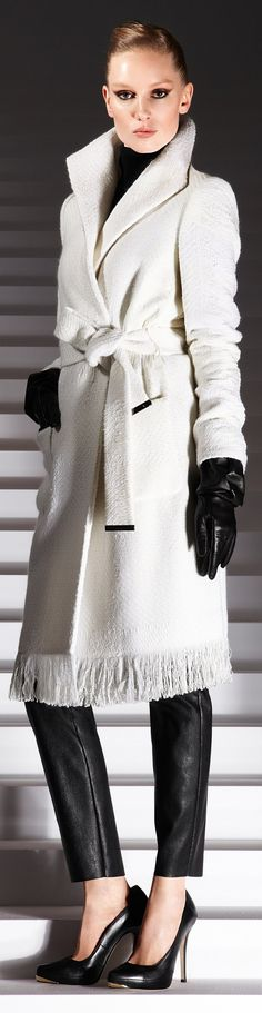 winter-white fringed wool trench <3 collar
