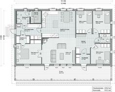Kreivi-talo, Kokkola - New England 135 Future House, My House, Bungalow, New England, House Plans, House Ideas, Floor Plans, Flooring, How To Plan