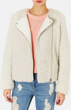 Topshop 'Debbie' Faux Shearling Biker Jacket available at #Nordstrom