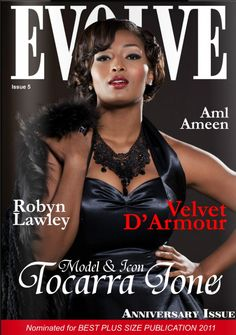 Fashion magazine celebrity cover photo: imagery by www.MargaretYescombe.com Photographer & Retoucher, shoot took place at Maggie's studio in Clapton, Hackney, London, England, UK.  Published in Evolve magazine issue 5 (Nominated for Best Plus Sized Publication 2011).  Celebrity plus sized model: Toccara Jones for editorial feature / fashion spread.