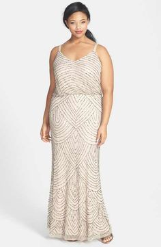 Adrianna Papell Beaded Blouson Gown (Plus Size) Halter Dresses 51f65ed00383