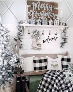 Sharing one more Christmas post before it's too late 😬 I can't believe Christmas has come and gone already.this beautiful entryway… Cottage Christmas, Christmas Tree Farm, Plaid Christmas, White Christmas, Country Christmas, Merry Christmas, Days Until Christmas, Christmas Post, Christmas Time Is Here