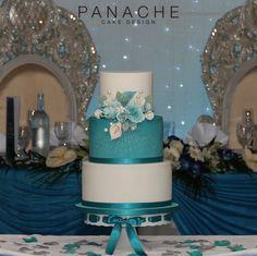 contemporary sugar flowers colourful wedding cake London weddingcakes sugar spray turquoise white silver pretty elegant