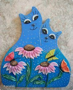 Картина панно рисунок Лепка Литьё Коты из гипса Гипс Тесто соленое фото 1