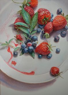 Strawberry Bliss, waterecolour by Svetlana Orinko Art Techniques, Original Artwork, Panna Cotta, Strawberry, Watercolor, Ethnic Recipes, Bliss, Painting, Food