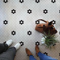 Penny Tile Stencils - Hexagon Shape Tiles Floor Stencils for Bathroom – Royal Design Studio Stencils Penny Tile Floors, Bathroom Floor Tiles, Kitchen Floor Tile Patterns, Shiplap Bathroom, Bathroom Tile Patterns, Best Bathroom Flooring, Bathroom Interior, Penny Tile Bathrooms, Bathroom Tile Showers