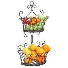 Wall Mounted Scrollwork Design Deluxe 3 Tier Black Iron Fruit Basket / Kitchen Storage Rack - MyGift®
