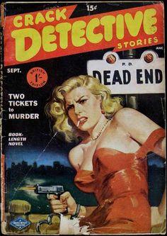 Crack Detective magazine pulp cover art woman dame cuffed cuffs handcuff gun pistol shooting danger smoking dock red dress