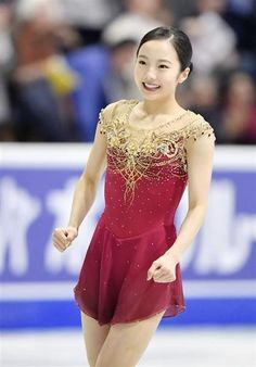 Japan's Marin Honda smiles after performing in the women's singles free program at Skate Canada International at Brandt Center in Regina, Canada, on Oct. Honda finished fifth in her Grand. Kim Yuna, Figure Skating Costumes, Figure Skating Dresses, Gymnastics Photography, Medvedeva, Beautiful Athletes, Olympic Gymnastics, Female Athletes, Sport Girl