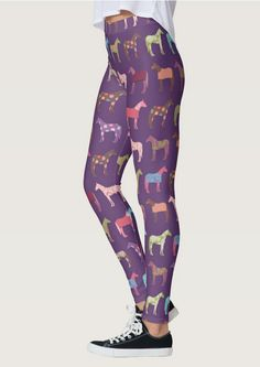Fun Horse Pattern Purple Equestrian Leggings - The Painting Pony - great for the horse lover
