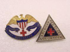 SCARCE WWI~WWII~AMERICAN RED CROSS VOLUNTEER ENAMEL PINS~EAGLE~SHIELD~AUSTRALIA