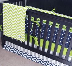 Lime Stripe Fitted Crib Sheet  Mini Crib Sheet