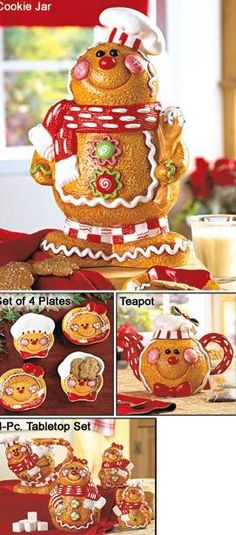 Gingerbread - Be still my heart! Gingerbread Man Decorations, Christmas Gingerbread Men, Gingerbread Village, Gingerbread Ornaments, Gingerbread Cookies, Christmas Decorations, Christmas Cookie Jars, Christmas Kitchen, Holiday Cookies
