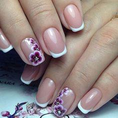 Beautiful wedding nails, Bridal nails, Delicate wedding nails, French with orchids, Nails for wedding dress, Orchid nails, Wedding French manicure, Wedding gel nails
