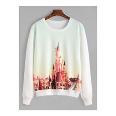 SheIn(sheinside) White Cinderella Castle Paint Sweatshirt (185 ZAR) ❤ liked on Polyvore featuring tops, hoodies, sweatshirts, white, white long sleeve top, white pullover, stretch top, round neck top and long sleeve stretch top