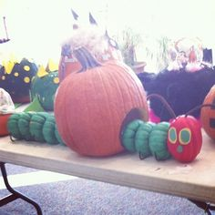 Adorable Very Hungry Caterpillar pumpkin - from urbangrace.com
