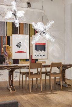 Dining: Piet Hein Eek Bloown chandelier: Dirk vander Kooij Big Bubbles, Soft Serve, Diffused Light, Chocolate Molds, The Conjuring, Diffuser, Fountain, Tiles, Frozen