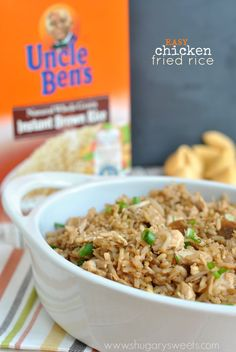 Easy, kid friendly Chicken Fried Rice recipe using Uncle Ben's brown rice. Made in under 30 minutes, it's perfect for a busy weeknight meal. ~ Shugary Sweets