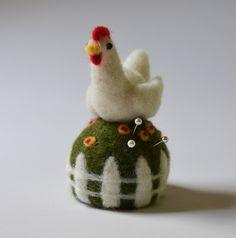 Chicken on a Grassy Mound Pincushion needle door TCMfeltDesigns