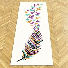 Dreamer Birds and Feathers Yoga Mat