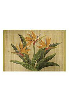 Hawaiian Style Bamboo Placemat Bird of Paradise Set Of 4