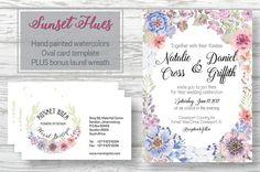 Oval card template: Sunset Hues by Lolly's Lane Shoppe on @creativemarket