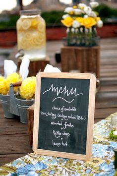 Great idea to put a small #chalkboard menu on the #wedding tables to stick with the theme as part of the #centerpiece design.  Via: Elizabeth Anne Designs Wedding Menu Chalkboard, Small Chalkboard, Chalkboard Signs, Chalkboard Ideas, Chalk Menu, Blackboard Menu, Chalkboard Paint, Wedding Trends, Wedding Blog