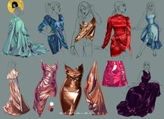 Digital Painting Tutorials, Digital Art Tutorial, Art Tutorials, Fashion Illustration Sketches, Illustration Techniques, Illustration Art, Fabric Drawing, Arte Sketchbook, Fashion Design Drawings