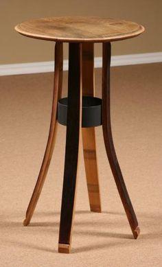 Wine Barrel Stave Furniture, Style III Table, stave stool, table, swivel stool, end table, bar height table, bistro table, barrel head clock, bar height stool