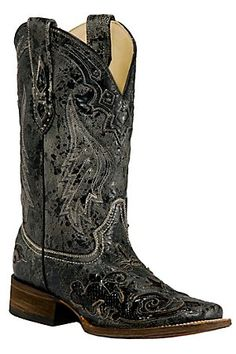 Corral Ladies Distress Black w/Black Inlay Squared Toe Boots