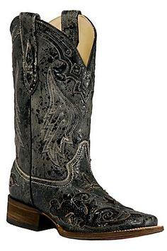 Corral Ladies Distress Black w/Black Inlay Squared Toe Boots