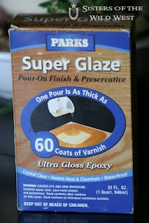 """Here's the """"super glaze"""" to use on the penny tiled table...need to get some of this stuff."""